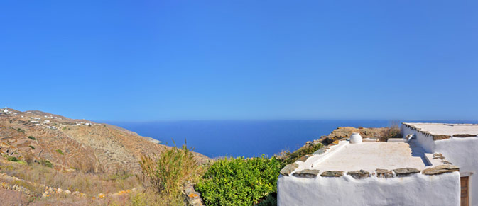 our renovated Themonia house in the village of Ano Meria in Folegandros offers a breathtaking view of the Aegean Sea ....